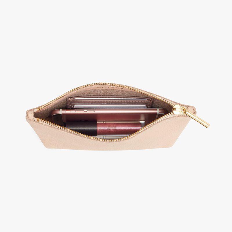 Mini Leather Zipper Pouch in Blush