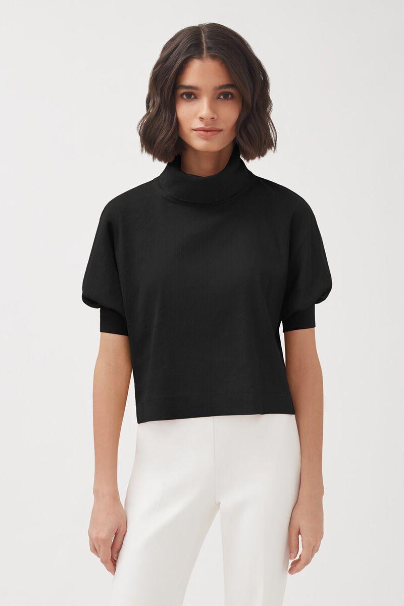 Linen Dolman Sleeve Top in Black