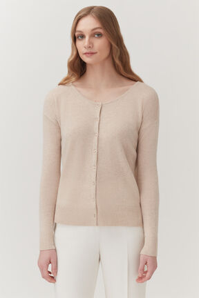 Single-Source Cashmere Cardigan in Beige