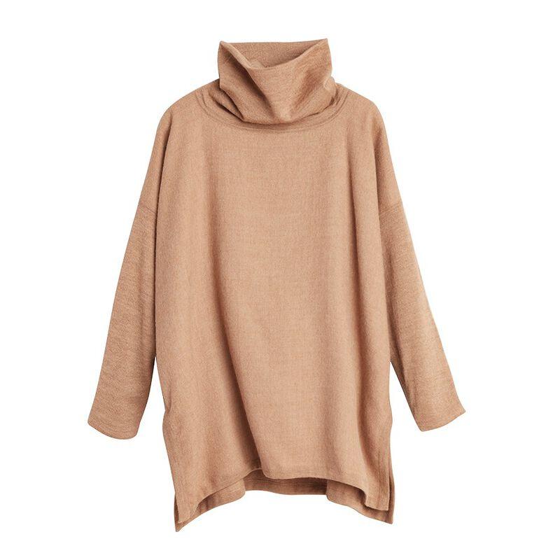 Baby Alpaca Oversized Turtleneck Sweater in Camel