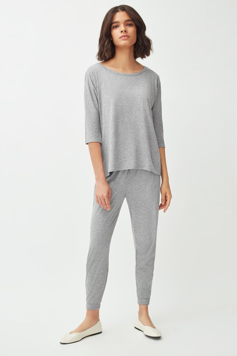 Pima Tapered Pant in Heather Grey
