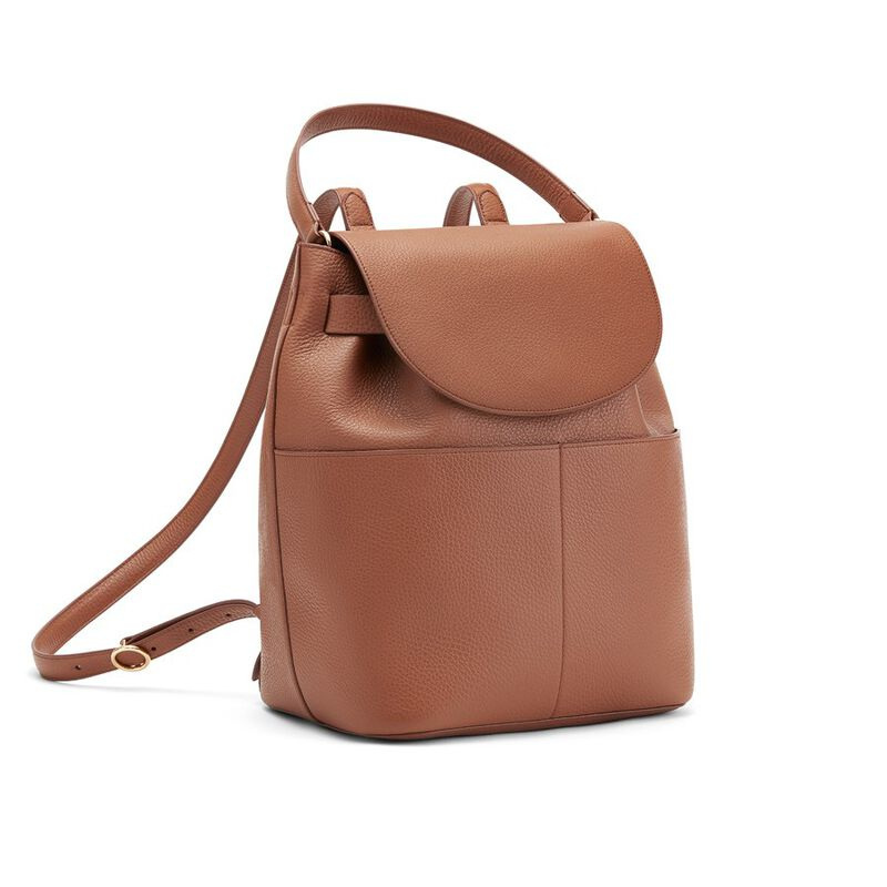 Leather Backpack in Caramel