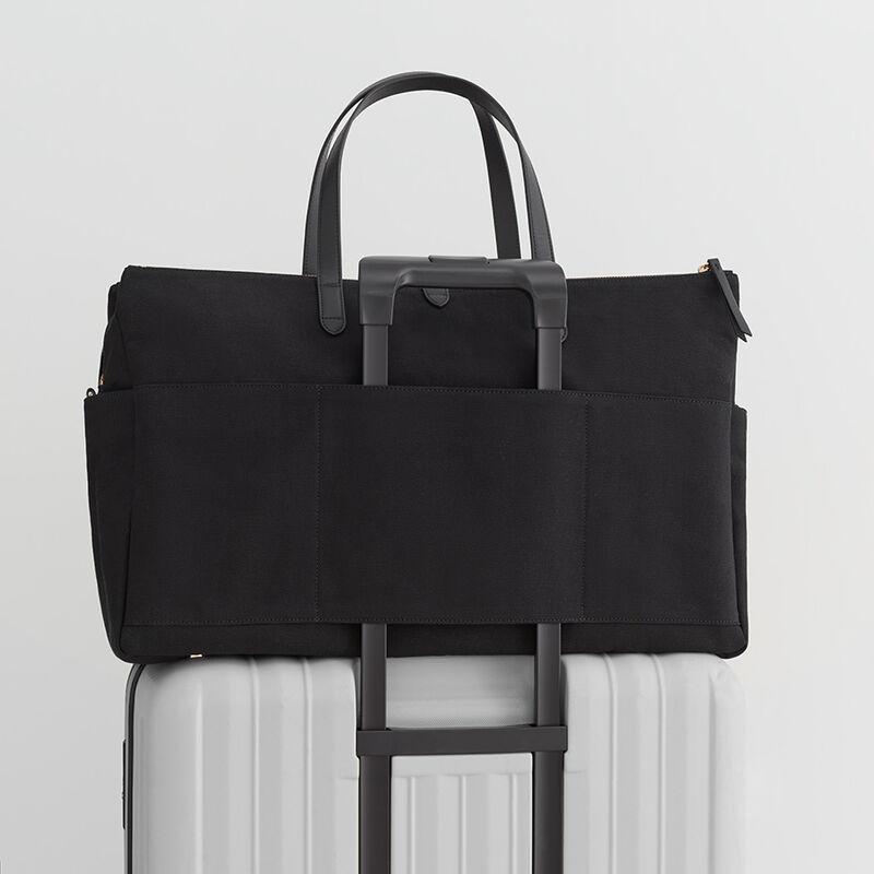 Triple Zipper Weekender, Black/Black, large