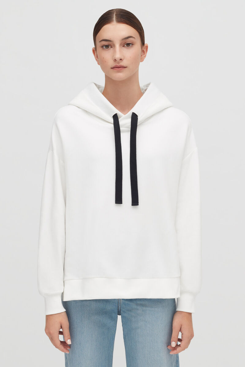 White Fleece Hoodie on model with hood down from front
