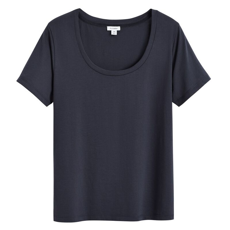 Pima Scoop Neck Tee in Navy