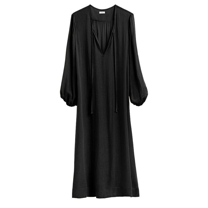 Deep V-Neck Maxi Caftan in Black