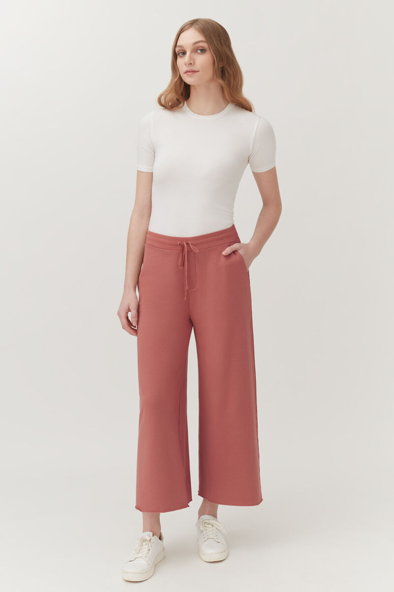 French Terry Wide-Leg Cropped Pant in Passion Fruit