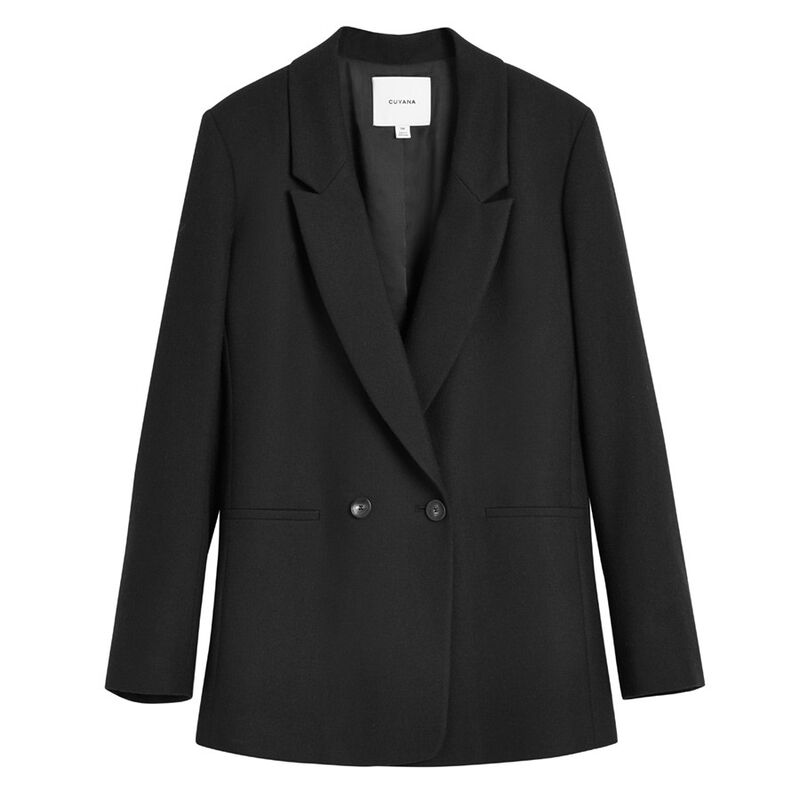 Wool Double-Breasted Blazer in Black