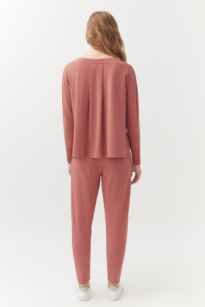 French Terry Pleated Front Pant in Passion Fruit