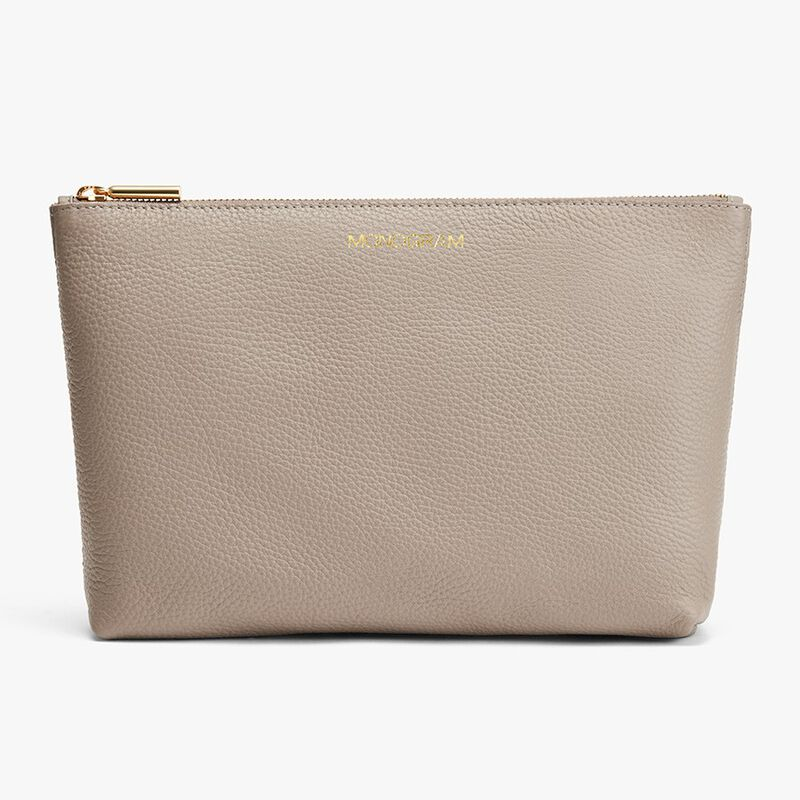 Medium Leather Zipper Pouch in Stone