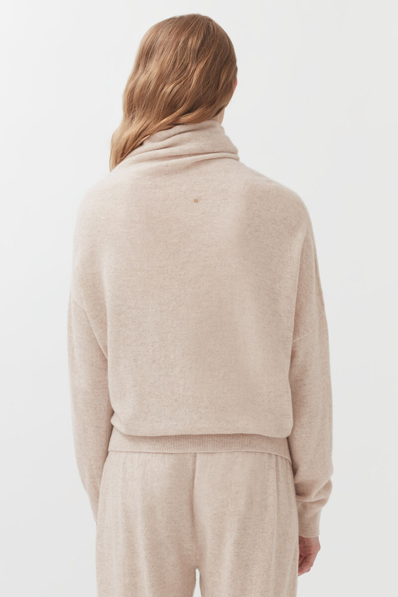 Cashmere Asymmetrical Turtleneck Sweater in Beige