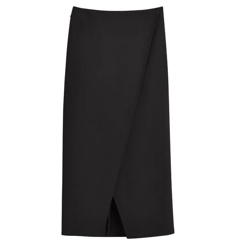 Cotton Twill Paneled Skirt in Black