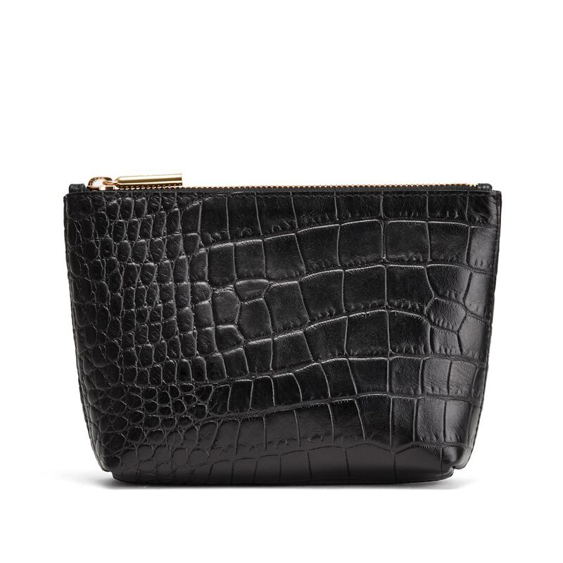 Mini Leather Zipper Pouch in Textured Black