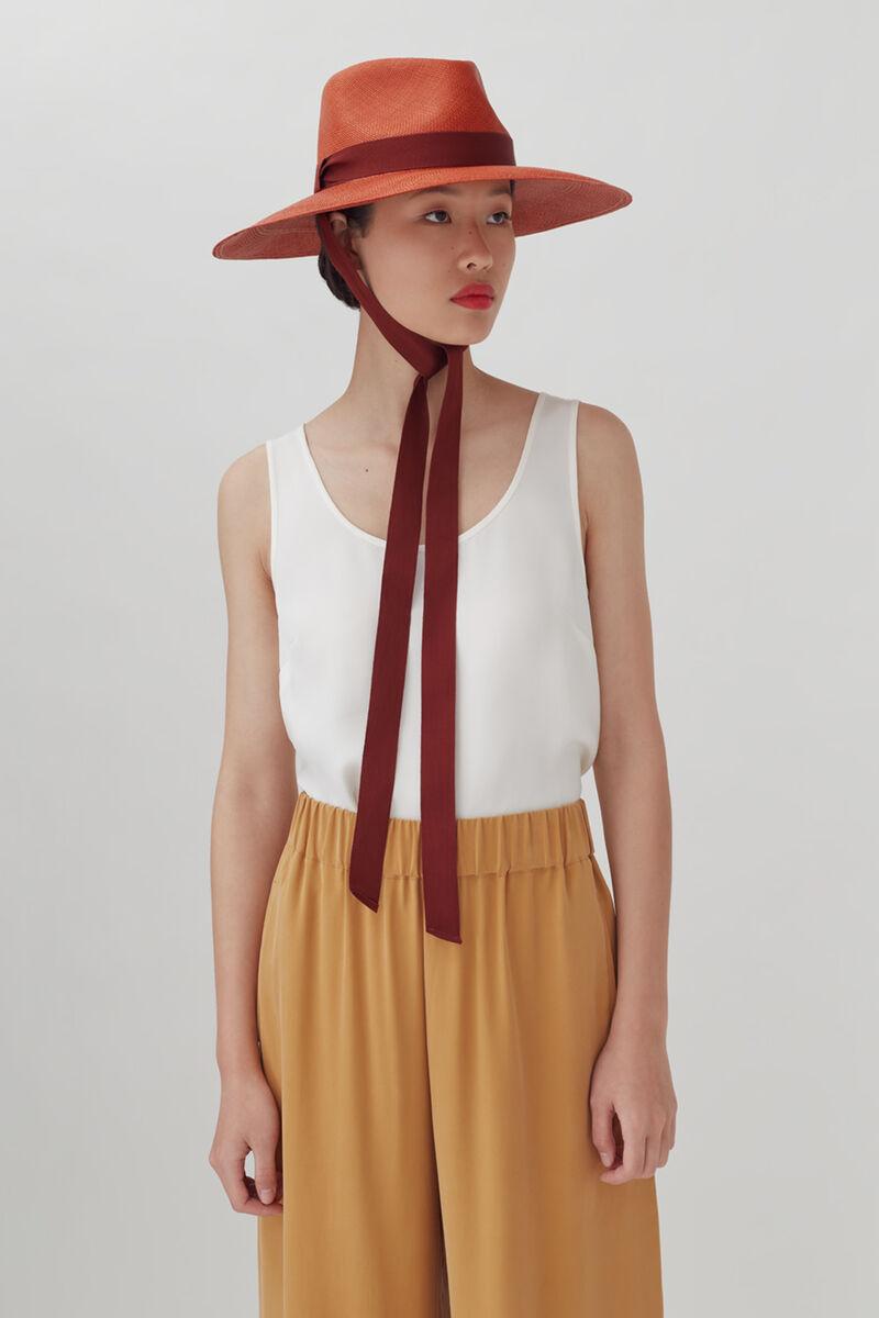 Ribbon Tie Summer Hat, Rust, large