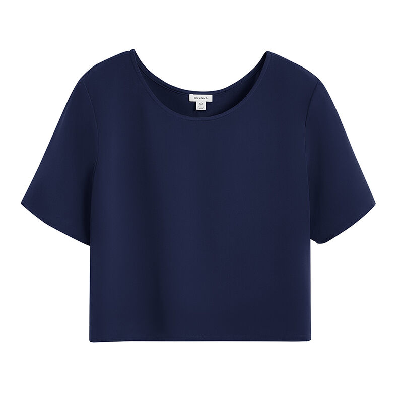 Silk Cropped Tee in Navy