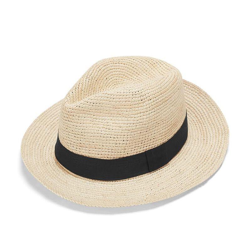 Folding Panama Hat in Natural/Black