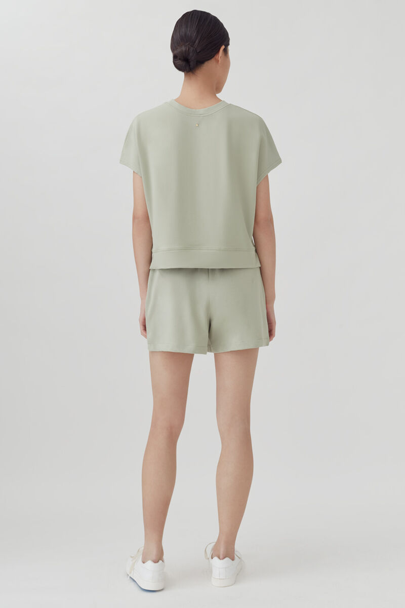 French Terry Short Sleeve Sweatshirt, Sage, large