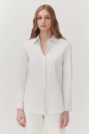 Poplin Overlay Shirt in White