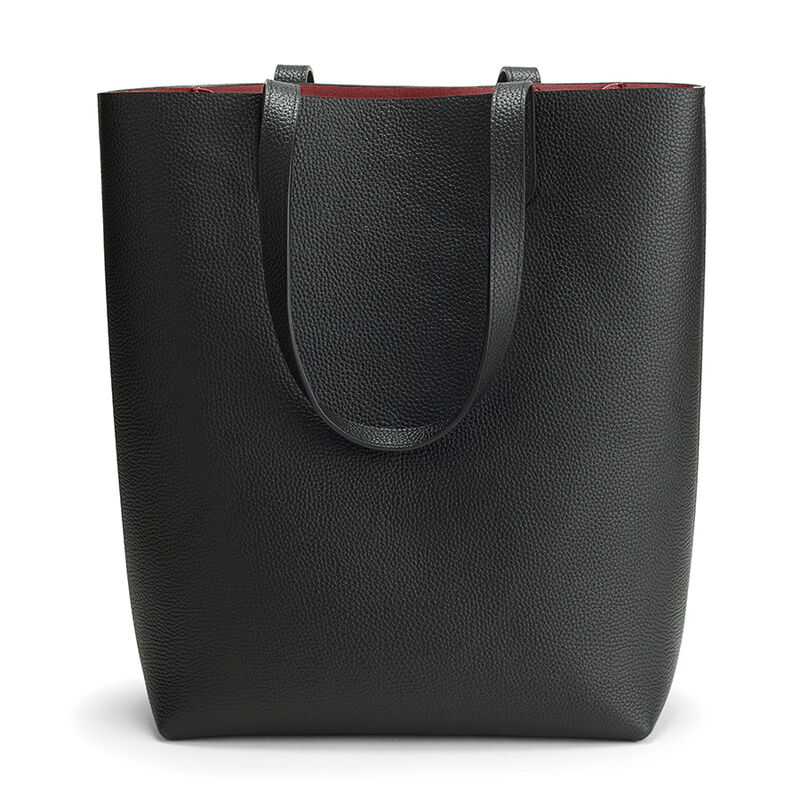 Tall Structured Leather Tote in Black/Ruby