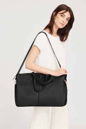 Leather Triple Zipper Weekender, Black, plp