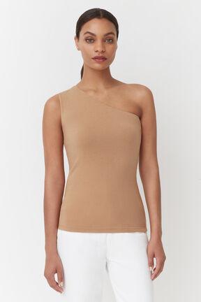 Slim One Shoulder Top, Camel, plp