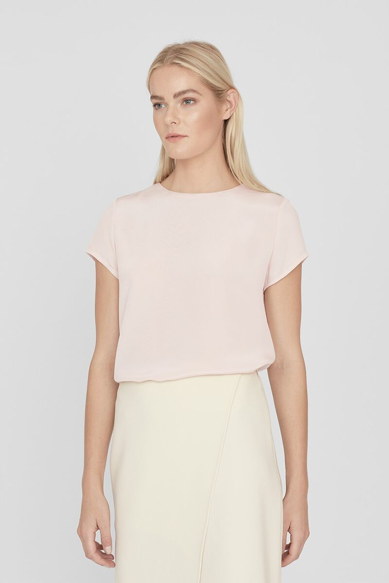 Silk Tee in Blush
