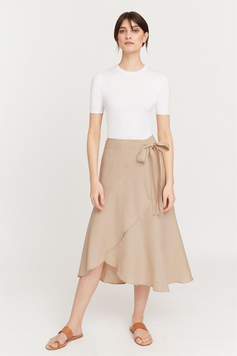 Linen Ruffle Wrap Skirt in Sand