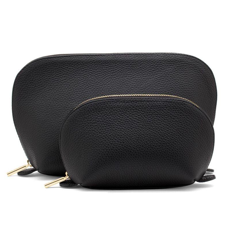Leather Travel Case Set in Black