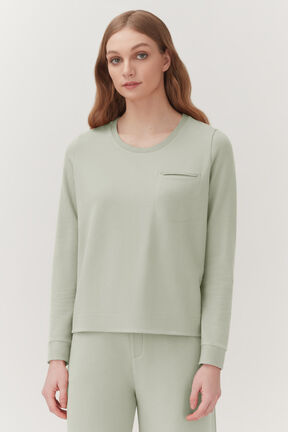French Terry Pleat-Back Sweatshirt, Sage, plp