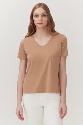 Pima V-Neck Tee in Camel