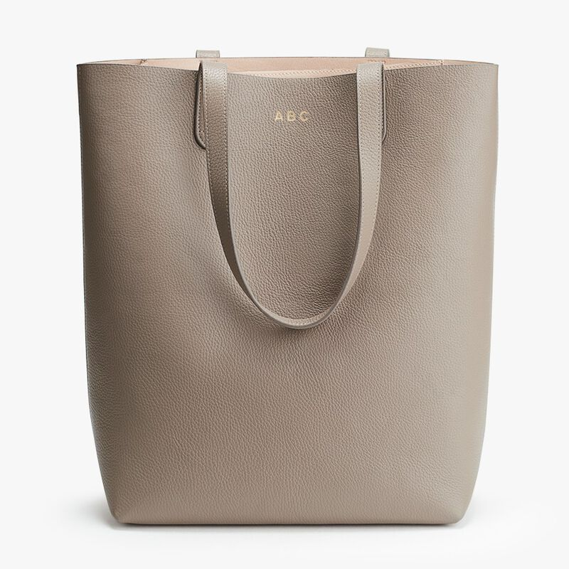 Tall Structured Leather Tote in Stone