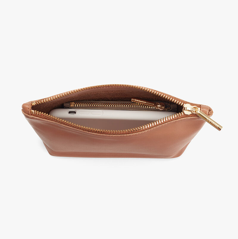 Mini Leather Zipper Pouch in Caramel Leather
