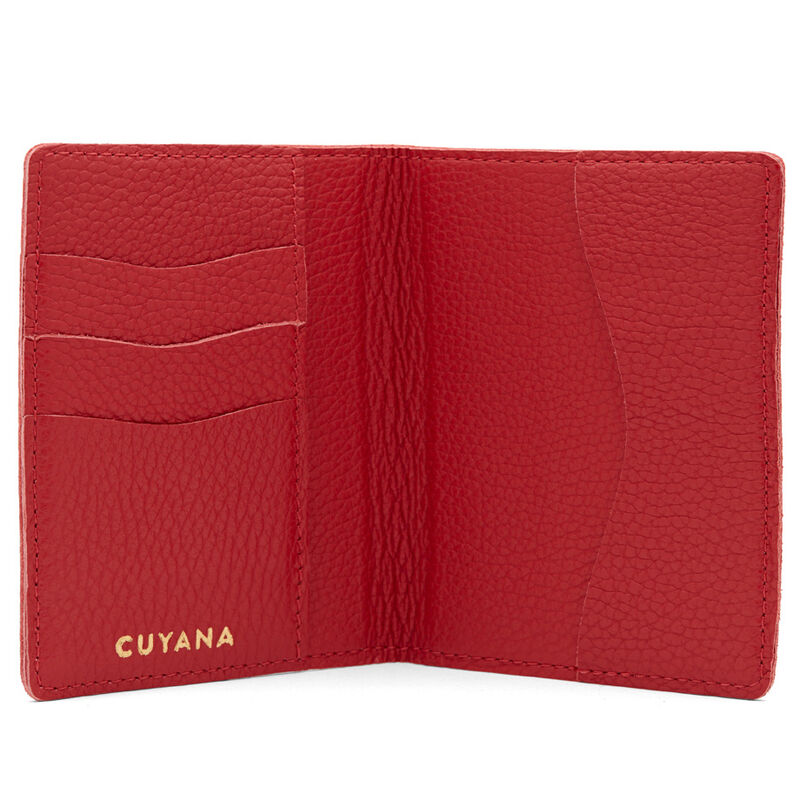 Slim Leather Passport Case in Red