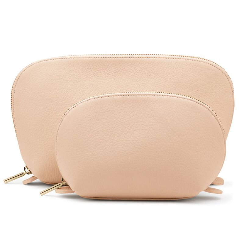 Leather Travel Case Set in Blush
