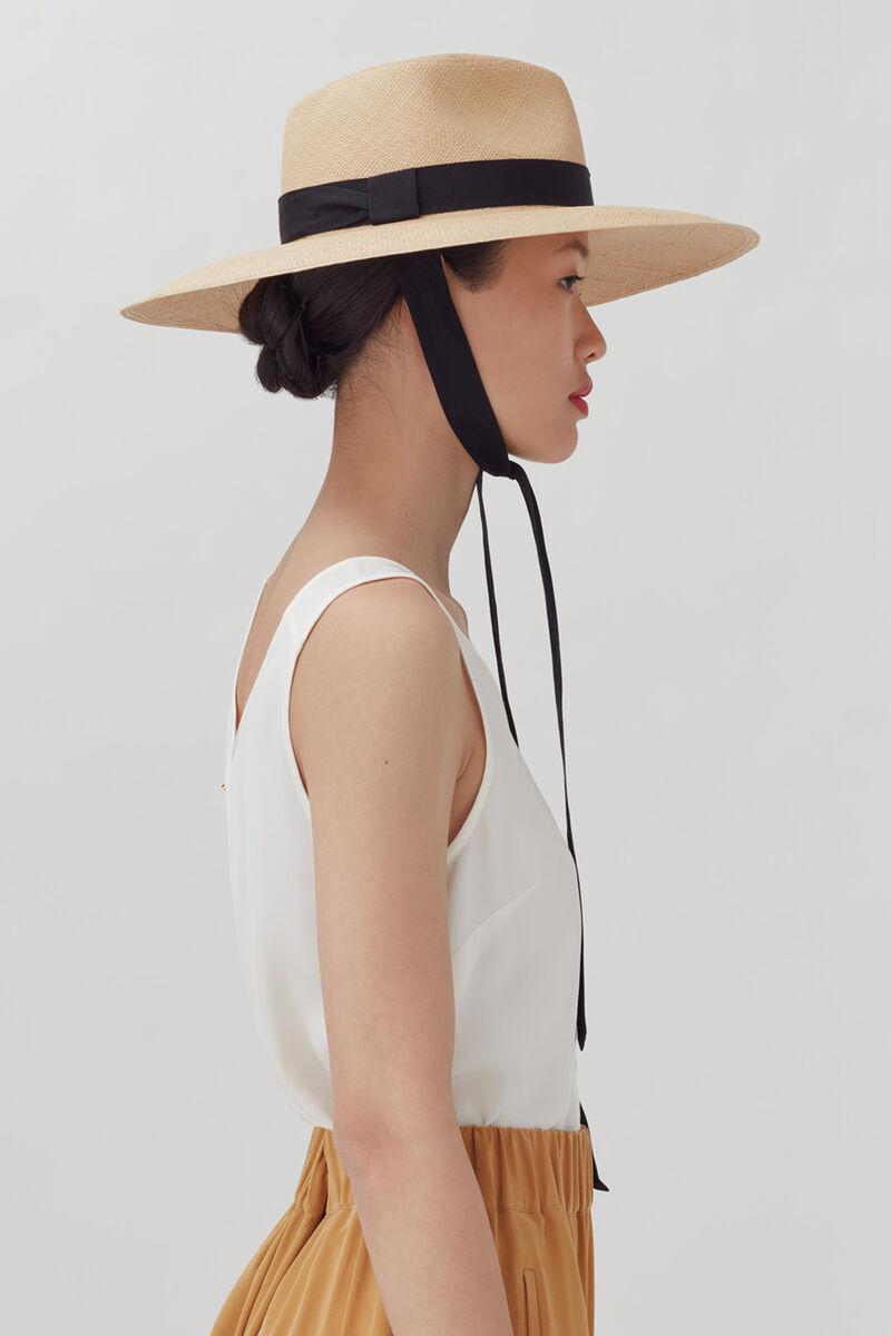 Ribbon Tie Summer Hat, Sand, large