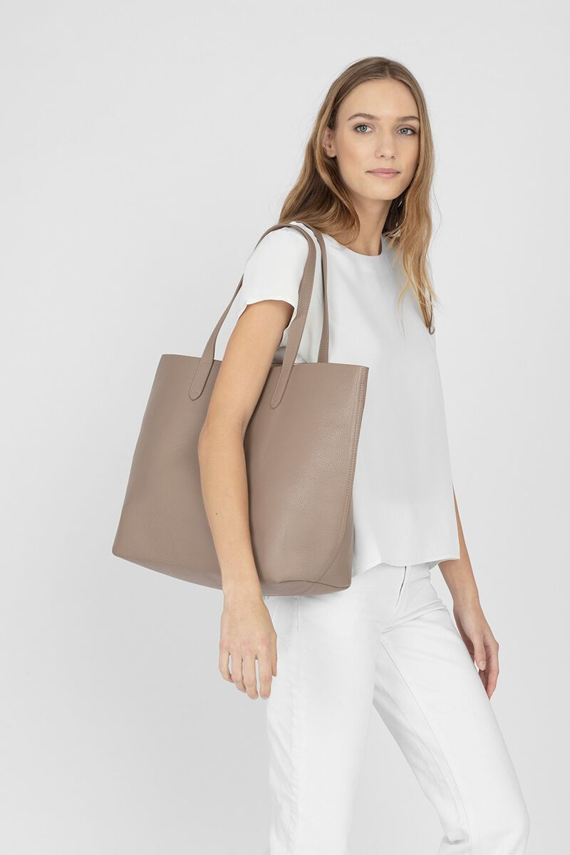 Classic Structured Leather Tote in Stone/Blush