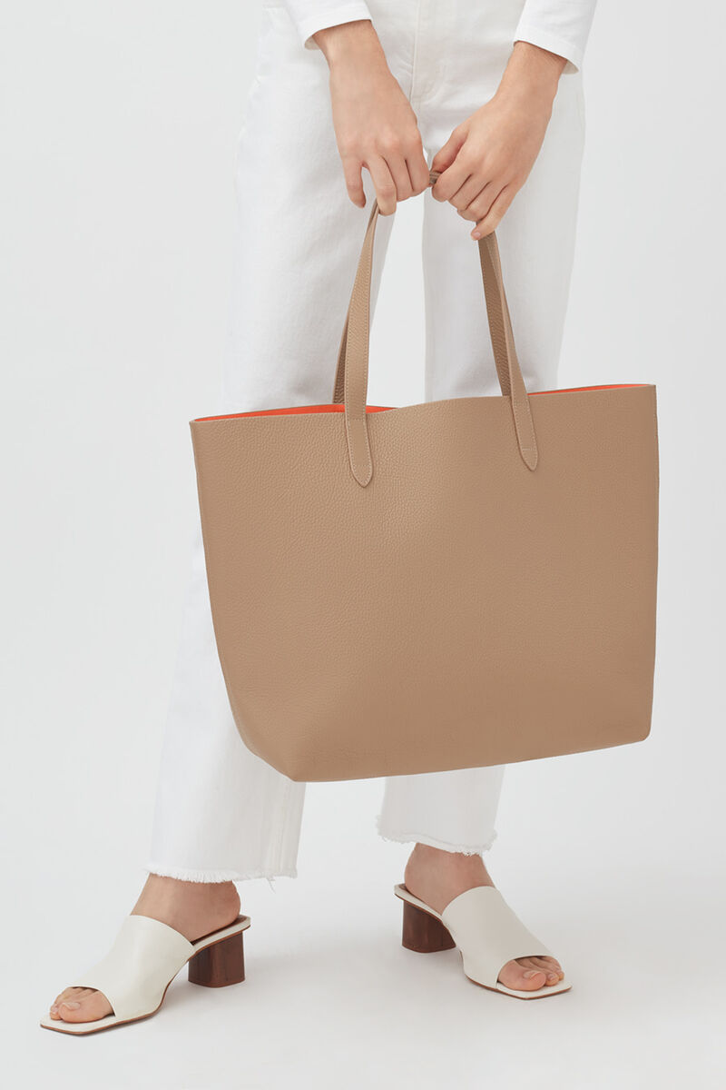 Classic Structured Leather Tote, Cappuccino/Orange (Limited Edition), large