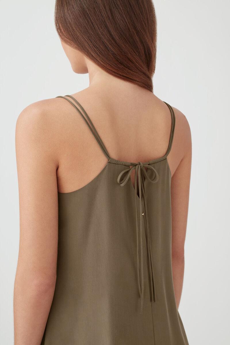 Tencel Tie-Back Short Dress in Olive