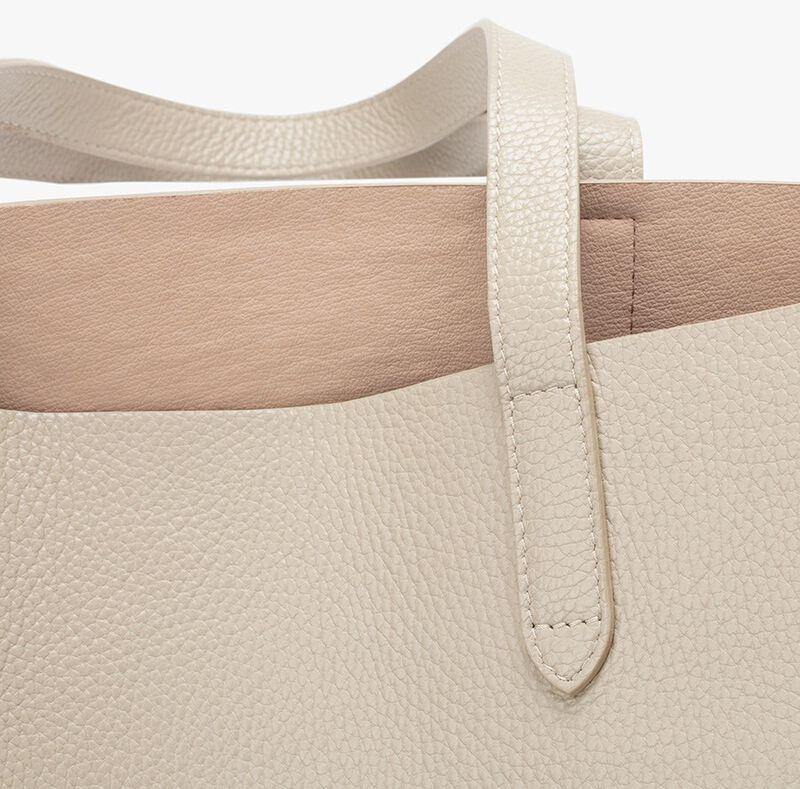 Classic Structured Leather Tote in Ecru/Blush