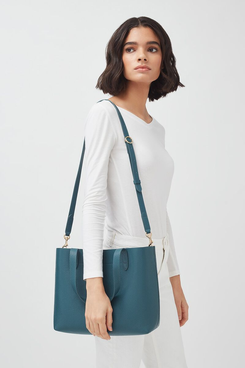 Small Structured Leather Tote in Deep Ocean/Navy