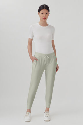 French Terry Tapered Lounge Pant, Sage, plp