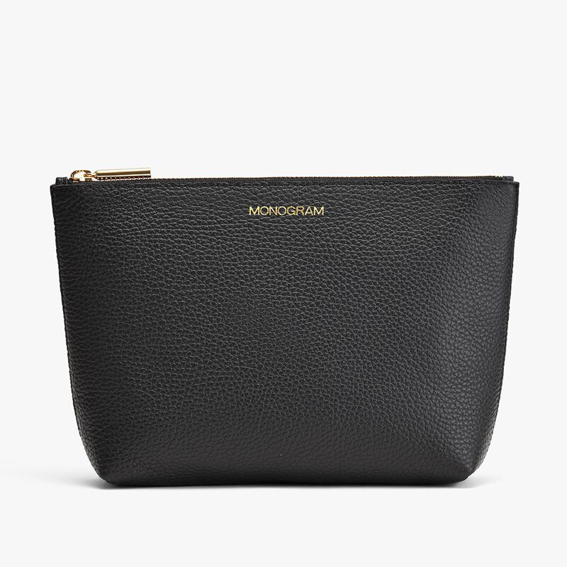 Small Leather Zipper Pouch in Black