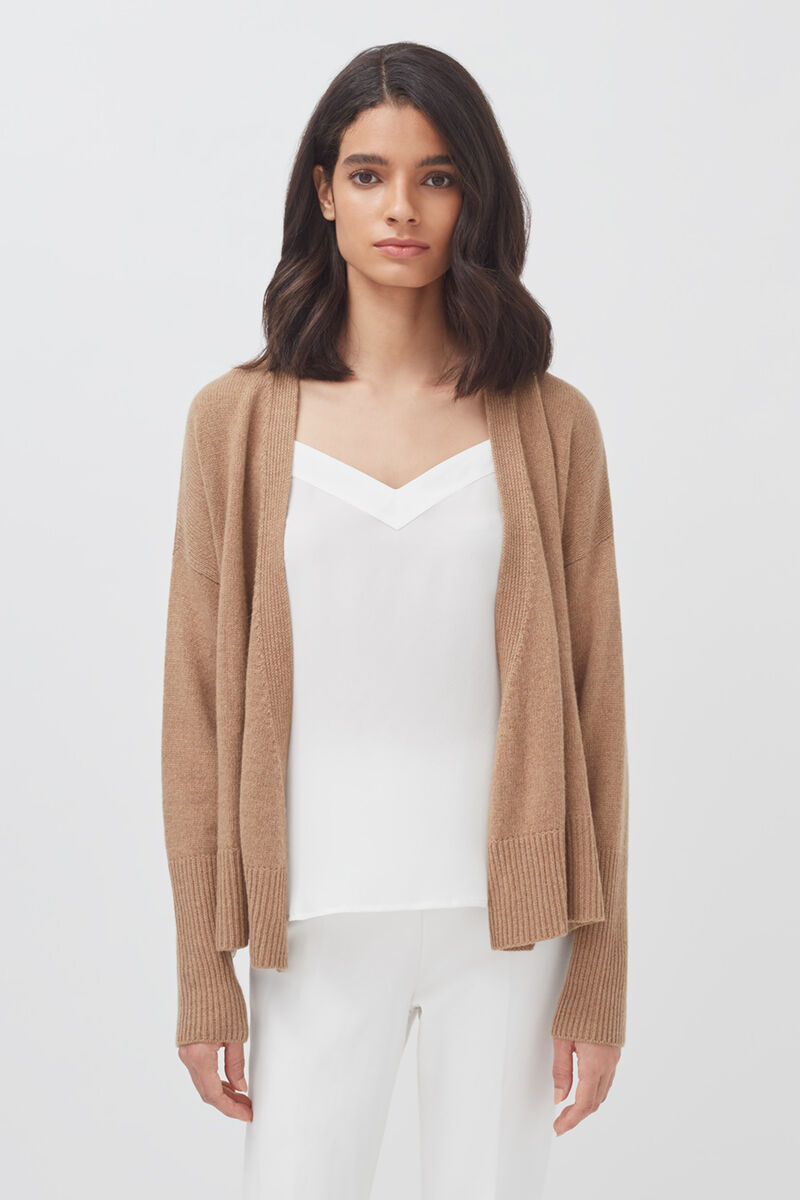 Recycled Cashmere Soft Wrap Sweater in Camel