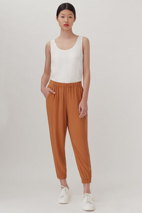 Washable Silk Jogger, Saffron, plp