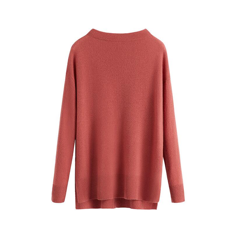 Single-Origin Cashmere Funnel Neck Sweater in Passion Fruit