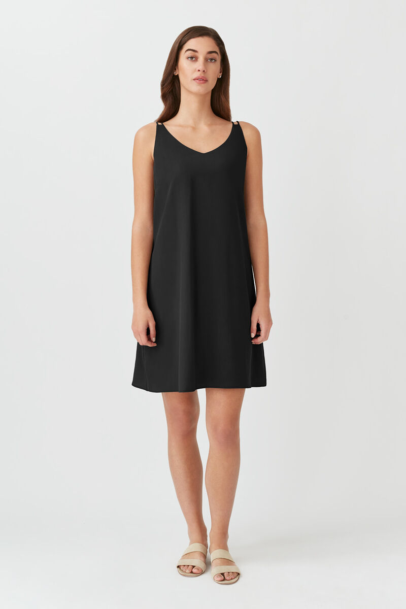 Tencel Tie-Back Short Dress in Black