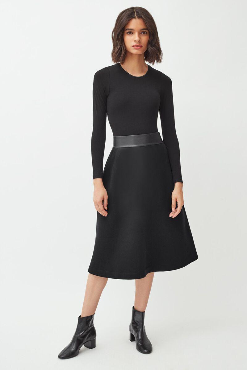 Fleece Midi Skirt in Black