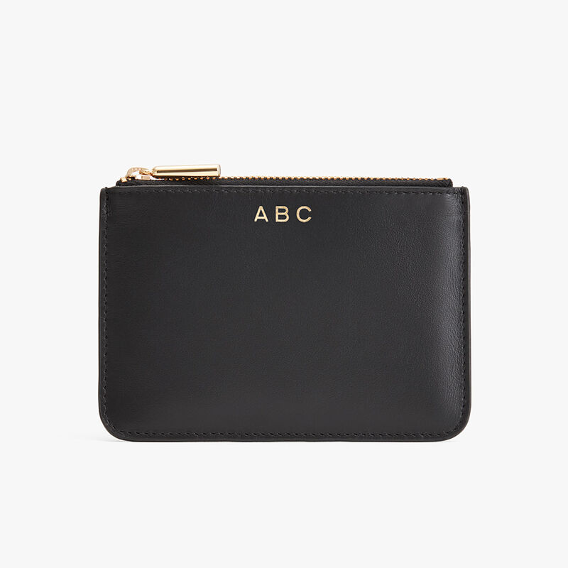 Slim Leather Pouch in Black