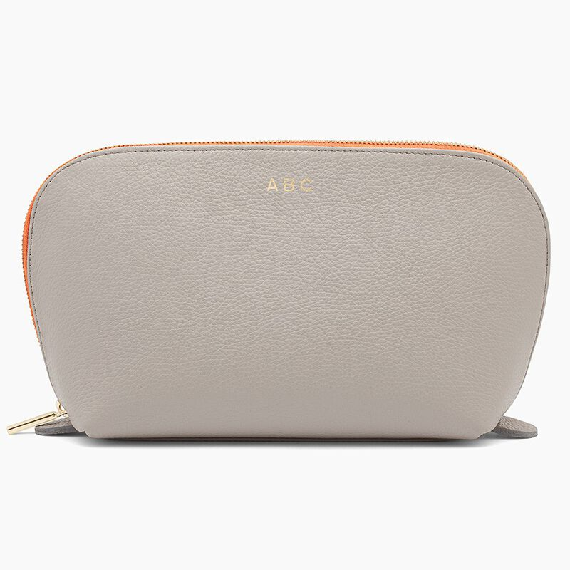 Leather Travel Case Set in Soft Grey