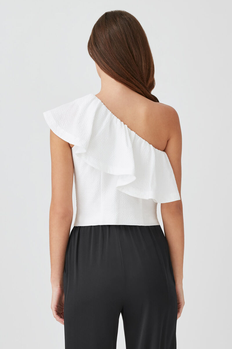 Cropped Flounce Top in White